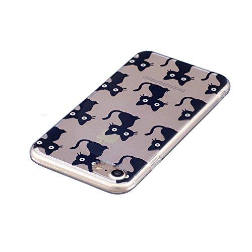 Coque iPhone 7 (4.7 pouce) , Mignon Panda Transparente Case TPU Slim Souple Étui de Protection Flexible Soft Silicone Cover Anti Choc Ultra Mince Couverture Motif Design Bumper Caoutchouc Gel Anfire H Noir Chaton