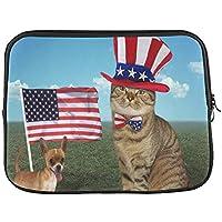 YSJXIM Diseño Personalizado Gato Desgaste Americano Sombrero y Amigo Perro Bandera Manga Suave portátil Bolsa de