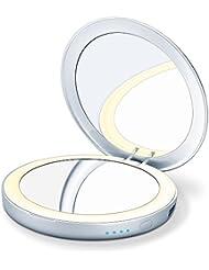 Beurer BS 39 beleuchteter Kosmetikspiegel mit Powerbank, 2 Spiegelflächen, automatische Beleuchtung