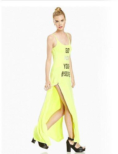 PU&PU Robe Aux femmes Gaine Street Chic,Couleur Pleine Col Arrondi Maxi Polyester YELLOW-M