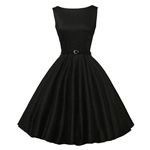 Jiameng ❤️ vestito da donna, gonna vestito vintage da donna stile vintage hepburn, abito da donna vintage aderente senza maniche casual retrò da sera con balze (l, nero)