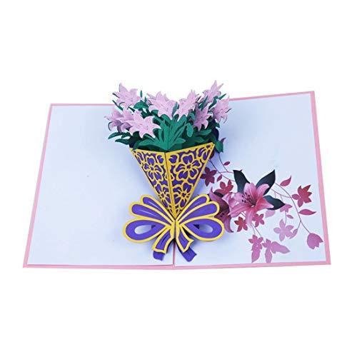 ZHOUBIN 2 fogli/set Carving and Hollowing Out 3D Cards/Greeting Cards/Regali di Natale Capodanno/Auguri di compleanno/Bouquet di fiori, Lily