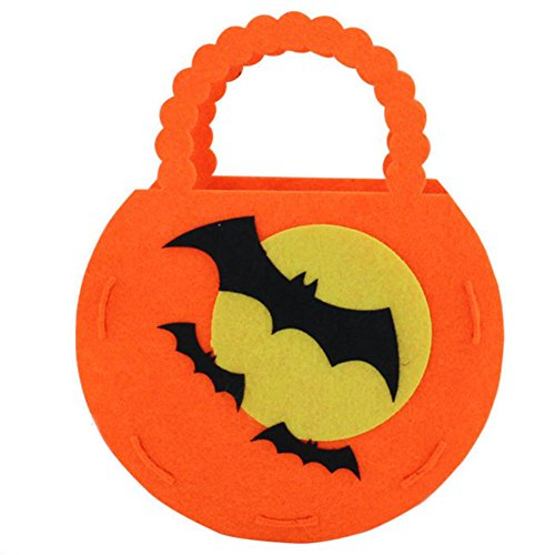 rbis Tasche Kinder Stereo Vliesstoffe DIY Geschenke Süßigkeiten Tasche für Halloween Party Kostüme (Fledermäuse) ()