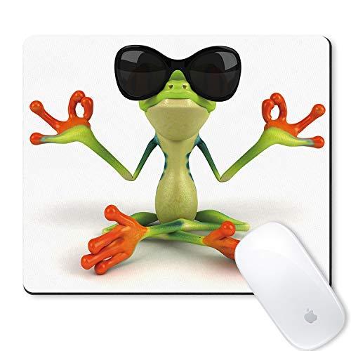galdas Gaming Mauspad Anime Cute Colorful Frösche Wearing Sonnenbrille zu üben Kung Fu Mauspad rutschfeste Gummi-Mauspad Maus Pads für Computer Laptop-FROSCH