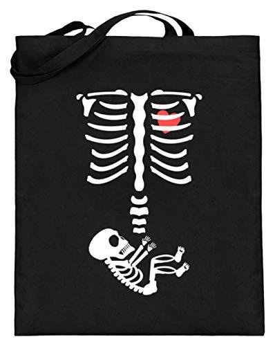 generisch Lustiges Schwangerschaft Halloween Baby Mama Mütter Skelett Menschen Nachwuchs - Jutebeutel (mit langen Henkeln) -38cm-42cm-Schwarz