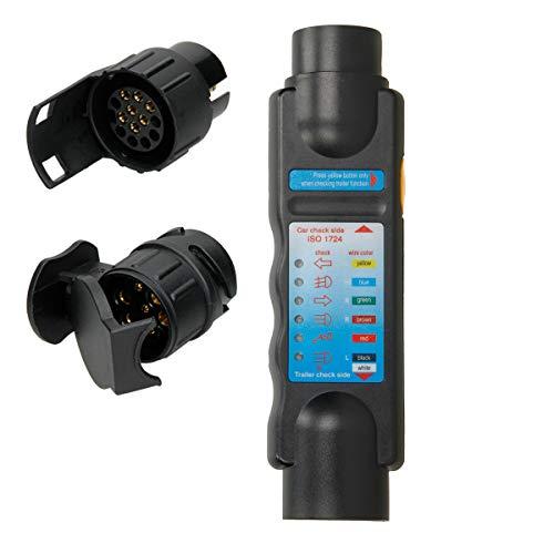 ECD Germany Trailer Tester zum Prüfen von Anhänger - und Wohnwagenbeleuchtung - 12 Volt - für 7 und 13-polige Steckdosen -