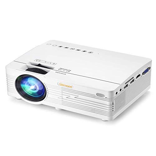Mini Beamer, Projektor LCD Overheadprojektor 2500 Lumen Gbtiger AK-90 Full HD Projektor 1080P Videobeamer Unterstützt PC, Laptop, Tablet, Smartphone, USB-Flash-Disk, SD-Karte, Weiß