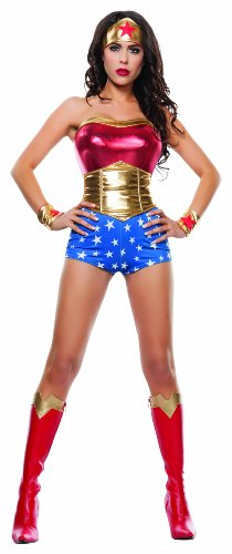 Women's Lady Power Sexy Cosplay 4 Piece Costume Set - 4 Sizes from XS to Large