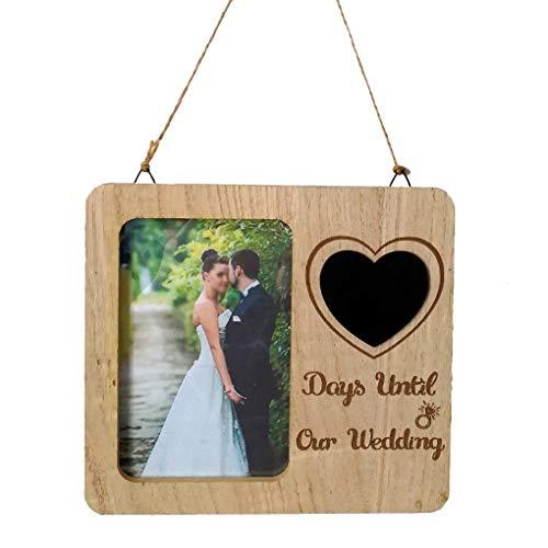 Herz-geformte Tafel-Verpflichtungs-Rahmen, Wedding Countdown Holzrahmen Tischdekoration für Hochzeit (Tafel-hochzeits-countdown)