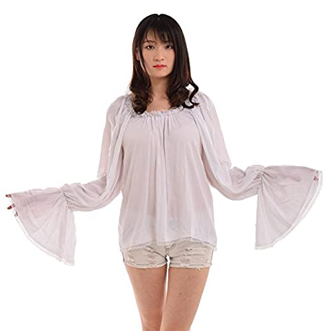 Blessume Women Pirate Blouse Medieval Off Shoulder Peasant Chemise Wench Shirt White (L)