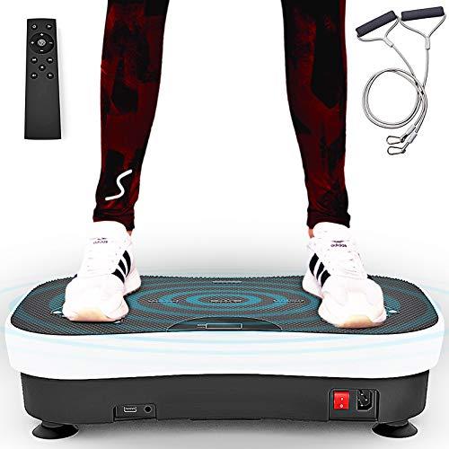 Sportstech Plate-forme vibrante VP210 technologie oscillation Bluetooth, zones de réflexologie plantaire sangles cordes de traction télécommande, haut-parleurs intégrés plateforme oscillatoire massage