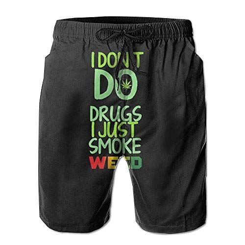 Quick Dry Herren Beach Shorts Badehose Half Pants (Texas Native) XXL Smoke Rasta Weed Black