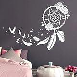 Wandtattoo Traumfänger mit Rosen, Vögeln und Federn/weiß / 55 cm hoch x 77 cm breit