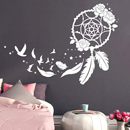 Wandtattoo Traumfänger mit Rosen, Vögeln und Federn/orange / 115 cm hoch x 163 cm breit