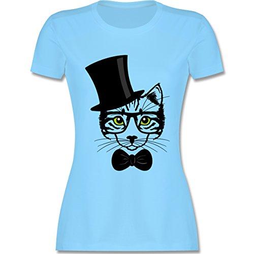 Katzen - Katze Hipster - tailliertes Premium T-Shirt mit Rundhalsausschnitt für Damen Hellblau