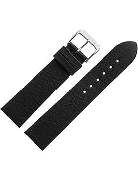Uhrenarmband 19mm Leder schwarz matt - inkl. Federstege & Werkzeug - MADE IN GERMANY - Ersatzband aus echtem Yakleder...