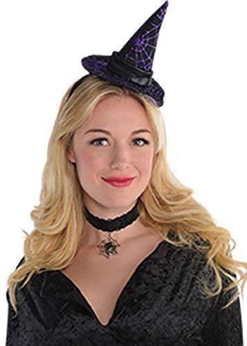 Damen Schwarz Lila Spinnennetz Hexe Mini Hut Haarband Halloween Kostüm Kleid Outfit Zubehör