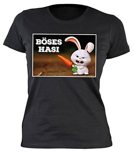 Fun Damen-Shirt Ostern - Osterhasen - Geschenk-Shirt Osternest Frau : Böses Hasi - Damen T-Shirt Sprüche/Motive Oster-Fest Gr: S (Böse Osterhase)