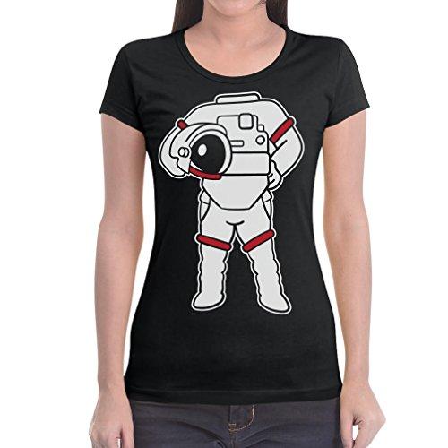 Druck Karneval Fasching Verkleidung Frauen T-Shirt Slim Fit Medium Schwarz (Astronaut Kostüm Bilder)