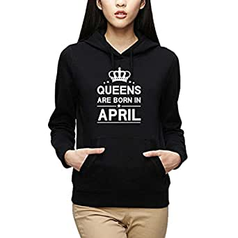 YaYa cafe Women's Queens Are Born in April Birthday Hoodie Sweatshirt (Black, XS)