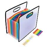 A4 Datei Organizer 12 Taschen Hohe Kapazität-Ständer Regenbogen Dokumentenmappe Fächermappe Sortiermappe Brieftasche Inhaber Papierkram Ablage Akkordeon Dateiordner