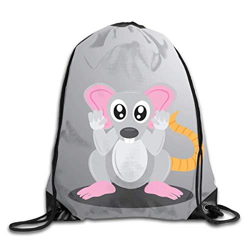 Hicyyu Drawstring Backpack Gym Bag Travel Backpack Rat Small Drawstring Backpacks Women Men Adults