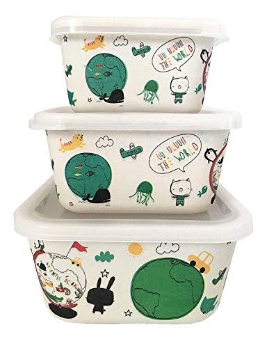 Bambus Frischhaltedosen für Kinder und Babys ♻ 3er Set LunchBox aus Bambusfaser mit Luftdichter Deckel - Umweltfreundlich Frischhaltebox, Ókologisches Material BPA-frei - Öko Tupper Spülmaschinenfest (Baby Lunch Box)