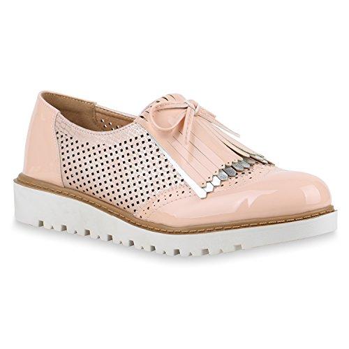 Damen Slipper Fransen Lack Schuhe Profilsohle Flats Rosa