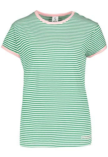 Sublevel Gestreiftes Colorblock Damen T-Shirt mit Stickerei Green M