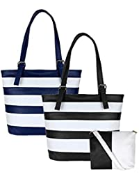 Don Cavalli Women's PU Leather Handbag Combo (Pack Of 2, Black & Blue)