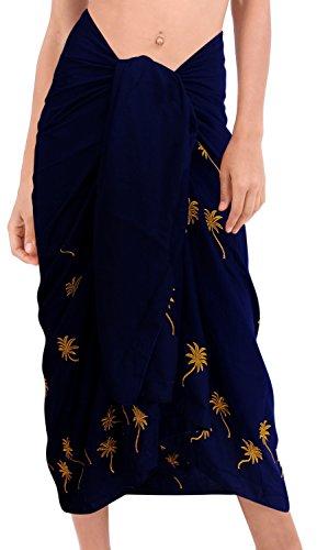 ricamato a mano costumi da bagno bikini rayon hawaiano involucro della spiaggia gonna sarong delle donne Blu|Noi: 36W (3X) / Uk: 38