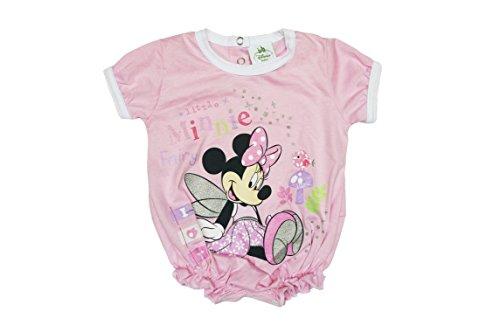 Disney - Minnie Mouse Mädchen Baby-Spieler Fee aus Baumwolle, Spiel-Anzug mit Druck-Knöpfen, Baby-Schlafanzug kurz-arm in rosa oder weiß, Body in GRÖSSE 56, 62, 68, 74, 80, 86 Farbe Weiss, Größe 86 - Rosa Kurzer Schlafanzug