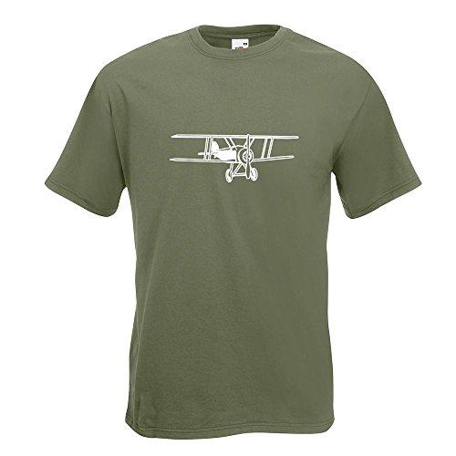 KIWISTAR - Doppeldecker Flugzeug T-Shirt in 15 verschiedenen Farben - Herren Funshirt bedruckt Design Sprüche Spruch Motive Oberteil Baumwolle Print Größe S M L XL XXL Olive