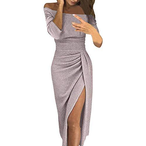 Dames Robe Vintage Asymétrique De L Épaule Haute Basic Fendue Moulante Mousseux Femmes Robes Robes Dîner Jupe Vetement (Color : Beige, Size : S)