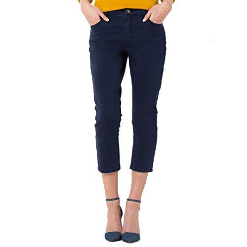 R Essentiel Donna Pantaloni A Pinocchietto, Taglio 5 Tasche, In Cotone Stretch