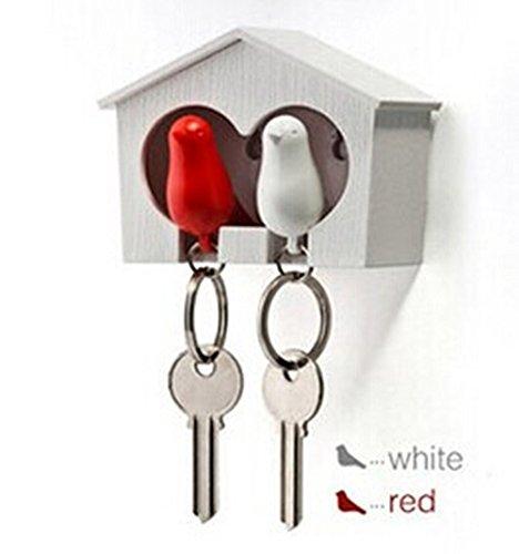 NO:1 Paar Kunststoff Hausspatz Vogel Schlüsselanhänger + Schlüsselanhänger + Pfeife rot-weißer Vogel