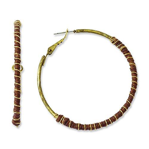 Tru Messing mit Braun Gewachst Leinen und goldfarbene Draht Creolen (Draht-leine)