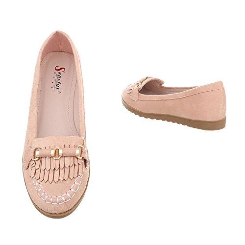 Ital-design Femmes Chaussures Mocassins Flat Slipper Rose Ts11