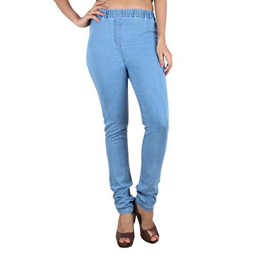 P&J Fashion Womens Black Color Jegging Narrow Bottom 2 Pockets ON Back (MID Blue, XXX-Large)