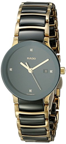 Rado Women's R30930712 Centric Jubile Two Tone Black Ceramic Bracelet Watch
