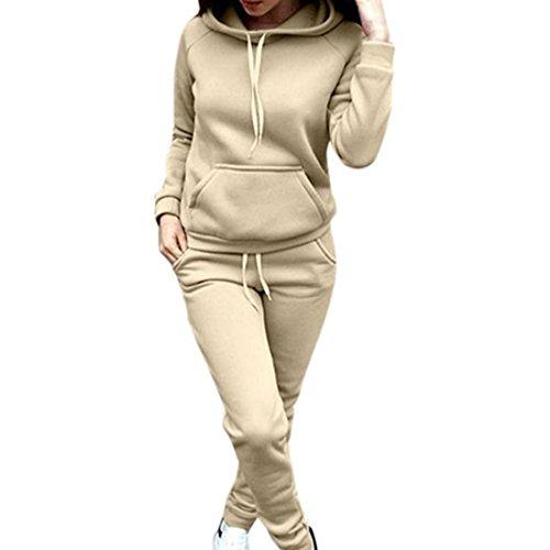 Frauen Kleid Anzug (Sannysis Damen Kapuzenpullover Damen Langarm Sweatshirt Hoodie Bluse + Lange Hose 2 Stück Outfit Sportbekleidung Set (M, Beige))