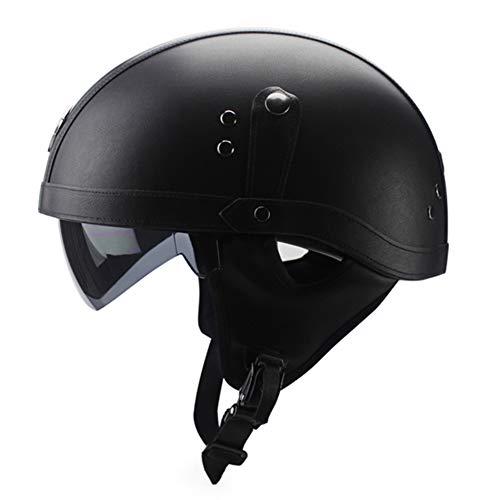 NrbcTse Retro Open-konfrontiert Motorrad Helm,Starke Schlaglokomotive Helm Abnehmbares Futter Mit Sun Visor Retractable Lens Für Männer & Frauen-schwarz XL(59-60cm) -