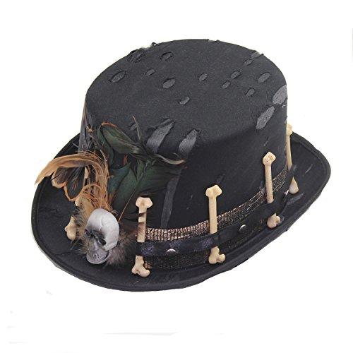 Hut Schwarz mit Totenkopf und Knochen, Federn Halloween Karneval