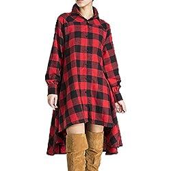 Auxo Mujeres Vestido Camisero Cuadros Escoceses Atractivo Suelto Irregular Manga Larga Rojo ES 38/ASIAN M