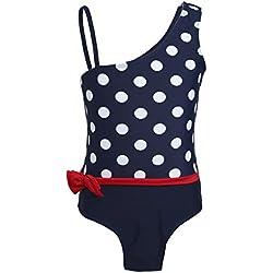 iEFiEL Traje de Baño con Lunares Bikini Bañador de Una Pieza para Niña Bebé (2-7 Años) de Vacaciones Verano Azul Oscuro 7 Años