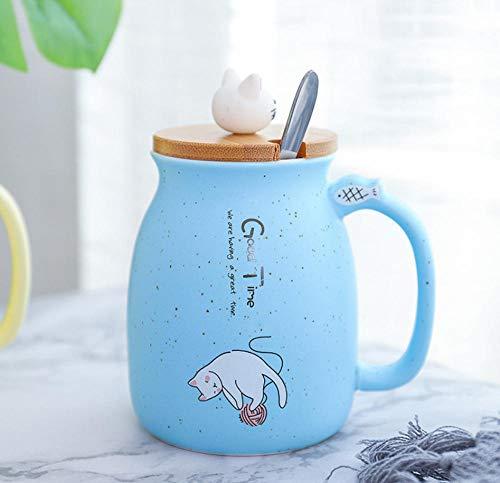 HYDWX Kreative Cartoon Glasierte Katze Keramik Tasse Mit Deckel Mit Löffel Becher Japanische Kreative Kaffeetasse Wasser Tasse 401-500ML - Blau
