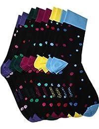 Weri Spezials Herren Socken in einem 5-er Pack lustige Punkte in Schwarz+lila (+fuchsia, +hell blau, +hell gelb, +gruen)