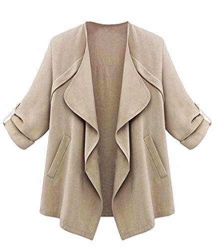 molly-donne-annata-outwear-risvolto-colore-puro-giacca-beige