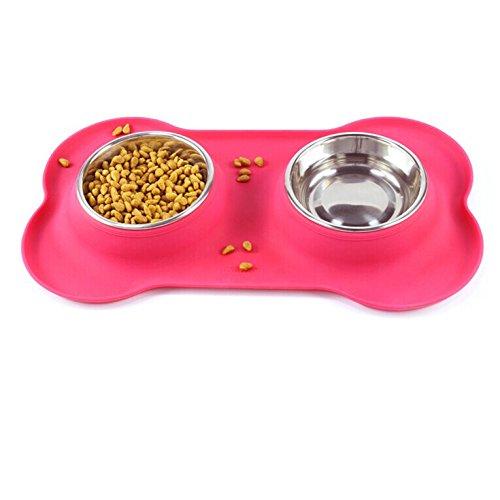in acciaio inox ciotola pet con nessuna fuoriuscita non - Skid siliconico opaco cane e gatto doppia ciotole , pink