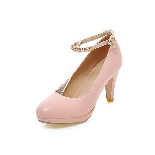 allhqfashion-womens-buckle-pu-round-closed-toe-high-heels-solid-pumps-shoes-pink-37